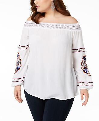 INC 6501 Plus Size 1X NEW White Textured Blouse Top Smocked Embellished $99
