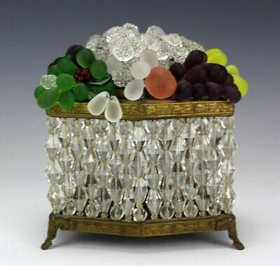 Bohemian Czech Frosted Crystal Grape Cluster Beaded Glass Fruit Basket Lamp SMS