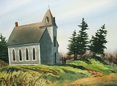 "Dale Ziegler ""Nova Scotia Church"" Original Watercolor Landscape Painting"