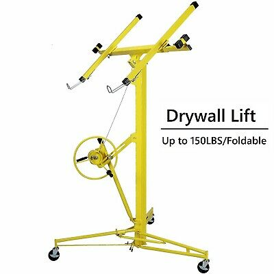 Yellow Drywall Lift 16' Panel Lifter Tool Sheetrock Hanging Rolling Caster Hoist