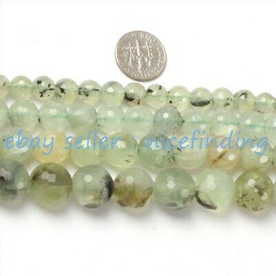 Natural Faceted Green Prehnite Round Gemstone Loose Beads For Jewelry Making 15""