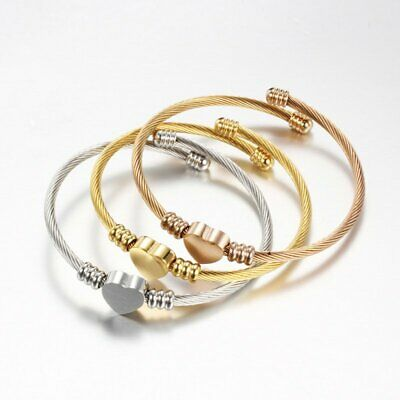 Women Jewelry Stainless Steel Twisted Cable Wire Heart Bracelet Cuff Bangle Gift
