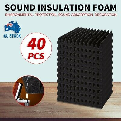 40Pcs Studio Acoustic Foam Sound Absorbtion Proofing Panel Wedge Black AU