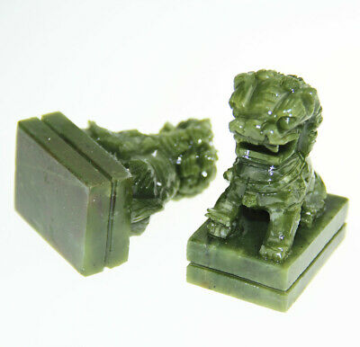 A Pair Fengshui Foo Fu Dog Guard Door Lion China Green Natural Jade Carved Hot