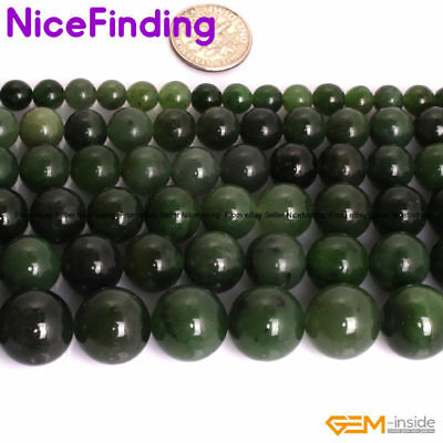 Natural AAA Grade Canadian Green Jadeite Jade Stone Beads For Jewelry Making 15""