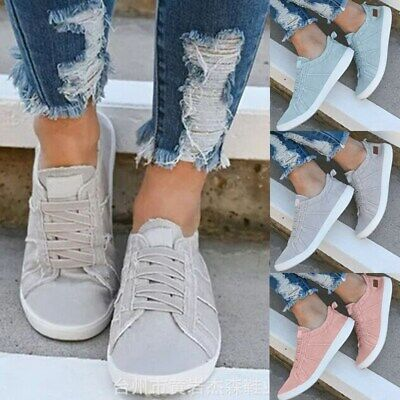 UK Women Slip On Canvas Flat Trainers Loafers Plimsolls Pumps Casual Shoes