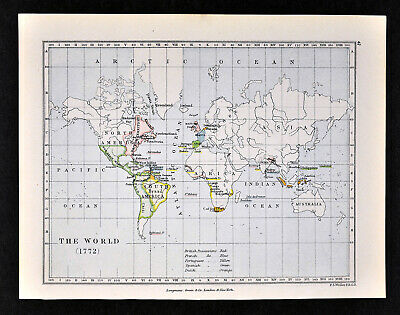 1892 Map The World in 1772 North South America Africa British Spanish Colonies