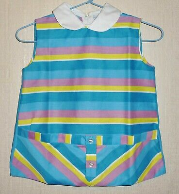 AUTHENTIC VINTAGE 1970's UNWORN GIRLS STRIPED POCKET DRESS AGES: 12 & 24 months