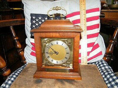 Vintage 8 Day Bracket Clock With Escapement Movement And Key