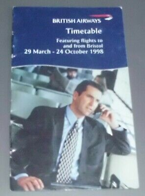 1998 British Airways Wallet Timetable featuring flights to and from Bristol