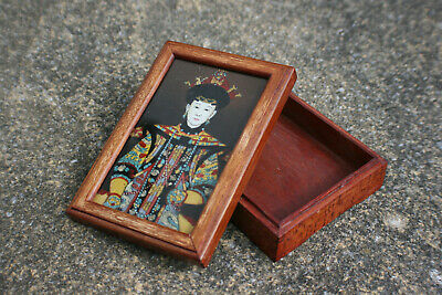Chinese Wooden Small Trinket Box with Reverse Glass Painting