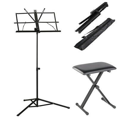 Black Piano Stool Pro X Frame Keyboard Bench Adjustable Height Padded Seat