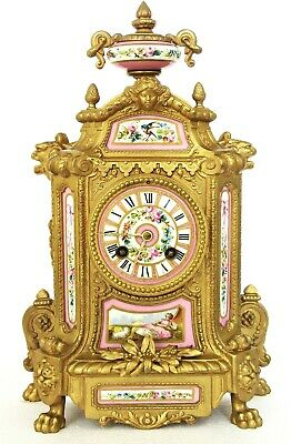 Antique Japy Freres French Ormolu Mantel Clock, Pink Porcelain, Pastoral Scene