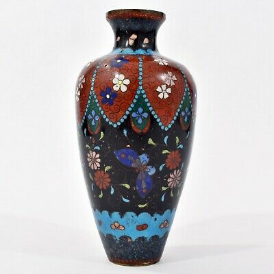 FINE Antique JAPANESE Ginbari CLOISONNE VASE Flowers Butterfly ORNATE Design