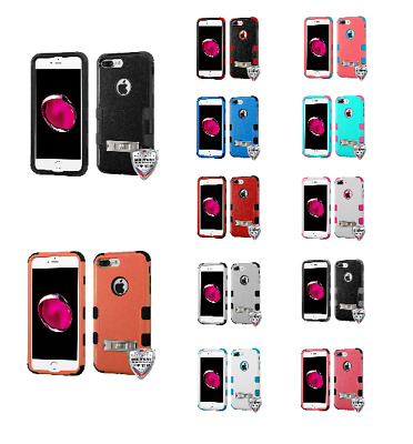 For iPhone 7 / 8 Plus Natural Hybrid Design Phone Case Protector Cover w/ Stand