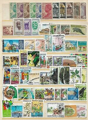 #961 Two Stock sheets & 1 Souvenir sheet of mint & used stamps from Ivory Coast