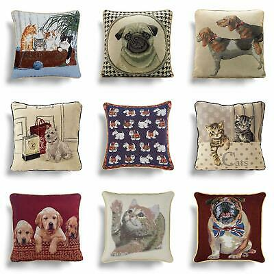 "Cats & Dogs Cushion Covers Tapestry Cute Vintage 18"" 45cm Filled Cushion Covers"