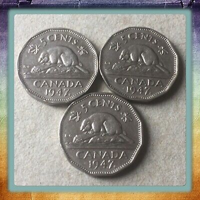 🇨🇦 Lot Of 3 1947 Maple Leaf Canada five cents Canadian nickel Coins #1608 🇨🇦