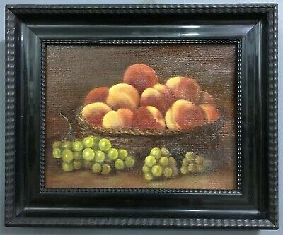 Antique 19th French Century Oil On Board Painting In Lacquered Frame