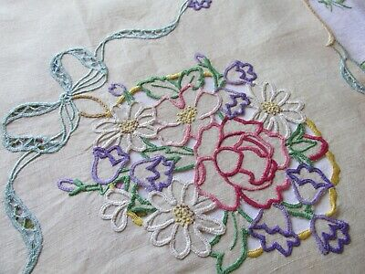 Vintage Hand Embroidered-Open Cut Work Irish Linen Tablecloth-FLORAL'S & BOWS