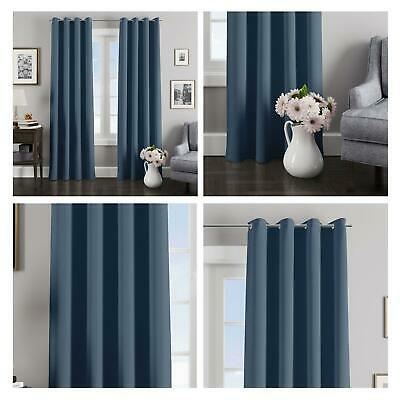 Navy Blue Curtains Blockout Thermal Eyelet Curtain Ready Made Ring Top Pairs