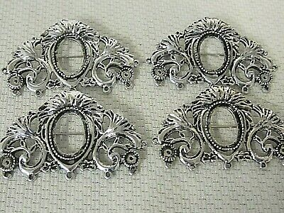 4 Brooches pin/pendants Antique Silver 18x13mm Cameo setting Vtg Victorian Deco