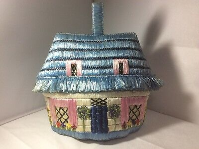 Vintage Vgc 1950s Raffia House Cottage Tea Cosy Retro Teacosy