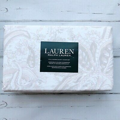 Ralph Lauren Queen duvet cover set Cotton Floral Paisley taupe tan cream peach