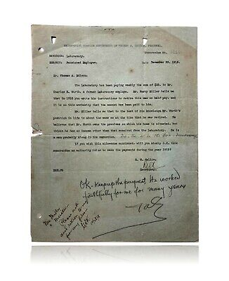 Thomas Edison Hand Signed Personal GE Letters x3 JSA COA Autograph Cut Check