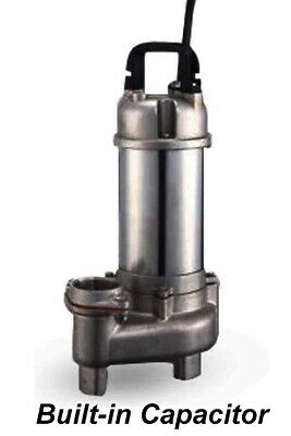 """Submersible SEWAGE TRASH Pump - 2"""" Out - 88 GPM - 115 V - 1/2 HP - Stainless Stl"""