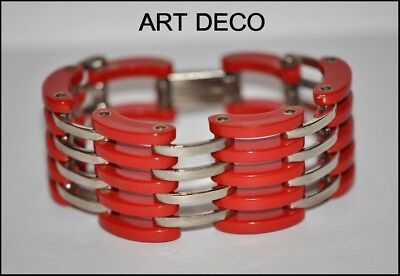 FAB FRENCH ART DECO 1930's CARVED RED GALALITH AND CHROME GRILL BRACELET