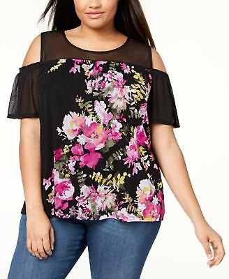INC 6259 Plus Size 1X Black Printed Pullover Top Mesh-Detail Cold-Shoulder $59