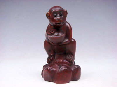 Boxwood Hand Carved Japanese Netsuke Sculpture Monkey Ingot Yuan-Bao #10151808