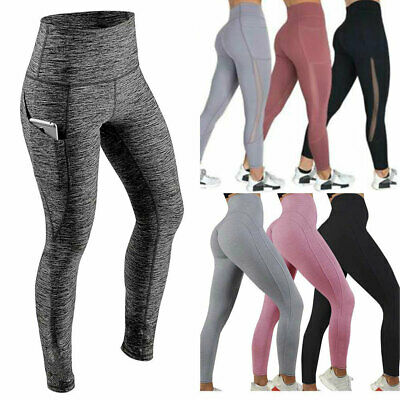 Womens Fitness Yoga Leggings Pockets Running Gym Sports High Waist Jogging Pants