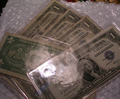 1935&1957 $1 Silver Certificate  Blue One Dollar Bill Lot Note Frn Lot Of 5 Pcs