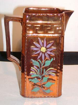 """Antique Unusual ENGLISH COPPER LUSTRE SQUARE PITCHER, 7""""H, Early 19thC, w/Floral"""