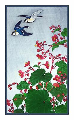 Great Tit Bird Begonia Flower Ohara Koson Shoson Counted Cross Stitch Pattern