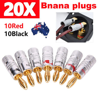 20pcs Nakamichi 24K Gold Plated Speaker Pin Tip Cable Wire Connector Banana Plug