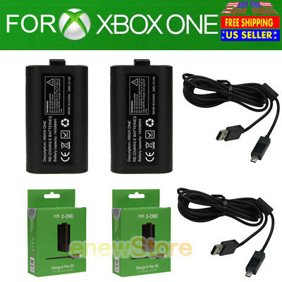 Lot 2 PCS For Official Microsoft XBOX ONE Play and Charge Kit Xbox One NEW USA