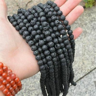 Natural Black Volcanic Lava Stone Craft Beads Jewelry Accessories 4mm - 20mm