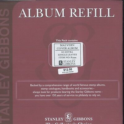 Stanley Gibbons Malvern Cover 4-Ring Single Pocket Leave Page Album Refill R3594