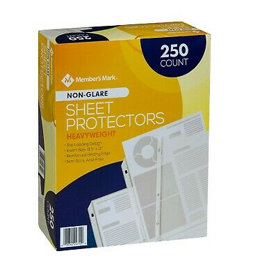 Members Mark Non Glare Poly Top Load Sheet Protectors 250 use w/ 3 Ring Binders