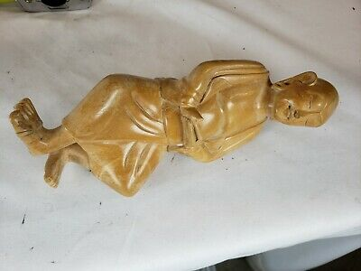 Nice vintage chinese or japanese monk figurine, carved wood, details