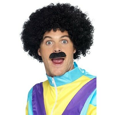 NEW Scouser Afro Black Wig and Moustache 80s Kit Fancy Dress Accessories