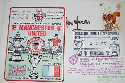Man Und V St Etienne  Signed 1977  First Day Cover By Lou Macari