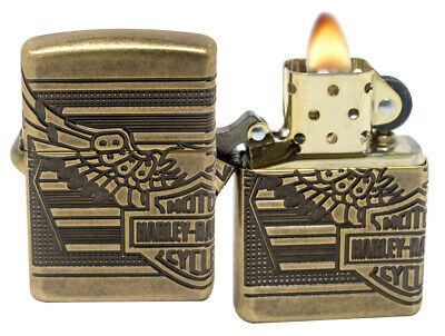 Zippo Lighter 29898 Harley Davidson 2019 Collectible Antique Brass Windproof New