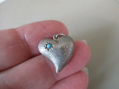 Antique Vintage Victorian Sterling Silver Turquoise Witches Heart Charm Pendant