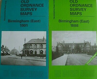Old Ordnance Survey 2 Maps Birmingham East Warwickshire 1888/1901 Godfrey Edit