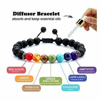 7 Chakra Crystal Stones Bracelet Healing Beads Natural Oil Diffuser Aromatherapy