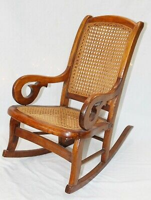 Old Antique Small 1860s-70s LINCOLN STYLE Caned Wooden CHILD'S ROCKING CHAIR